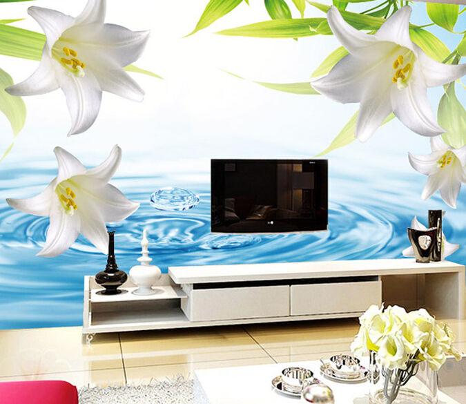 3D whitee Lilie, Wasser 676 Fototapeten Wandbild Fototapete BildTapete Familie DE