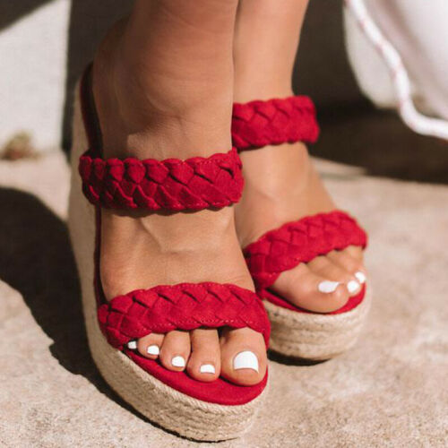 Womens Wedge Sandals Espadrilles Ladies Platform High Heels Slip On Shoes Size