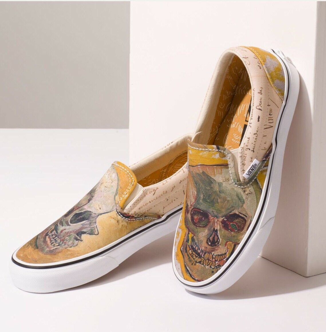 NIB Vans Limited VAN GOGH Skull True White Slip On - Last Ones