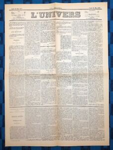 La-Une-Du-Journal-L-Univers-26-Mai-1873-Election-Du-Marechal-De-Mac-Mahon
