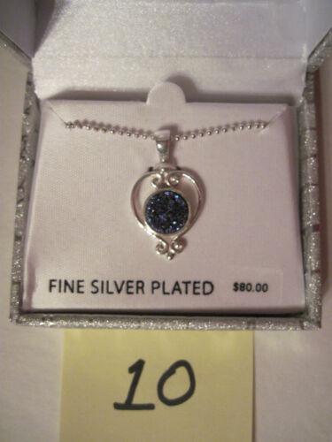 Genuine Drusy Quartz Silver Plated Necklace Pendant $80 Gift Box FREE S/&H