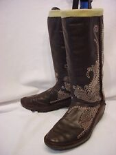 WOMENS SZ 7 PUMA BROWN LEATHER SLIP ON COWBOY STYLE FLAT SOLE BOOTS