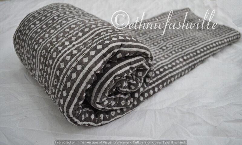 Indian Cotton Kantha courtepointe literie litspread Coverlet Handmade Blanket lit Cover