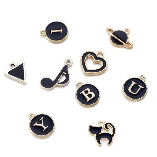 51x Black Mixed Double-sided Alloy Enamel  Letter Charms Dangle Pendants 12~20mm