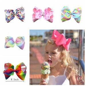 8 inch Girl Rainbow Bows Hairpin large rib Grosgrain Ribbon Bow Hair Clip Baby**
