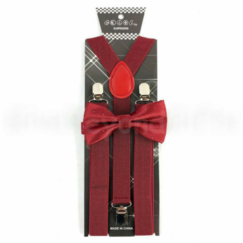 Suspender and Bow Tie Adults Men Fancy Elegant Burgundy Formal Wear Accessories