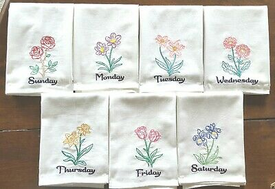 VINTAGE FRUIT DAYS OF THE WEEK MACHINE EMBROIDERED FLOUR SACK DISH TOWELS