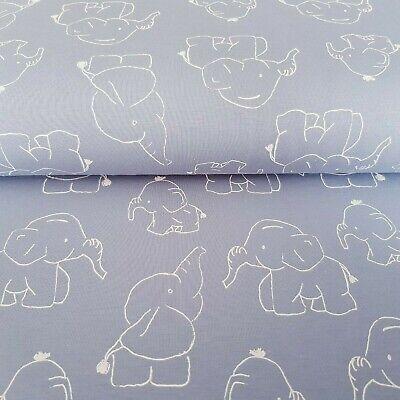 Jersey Stoff Kinderstoff 150cm Elefanten weiß QjuTie Kids Collection 14,00€//m