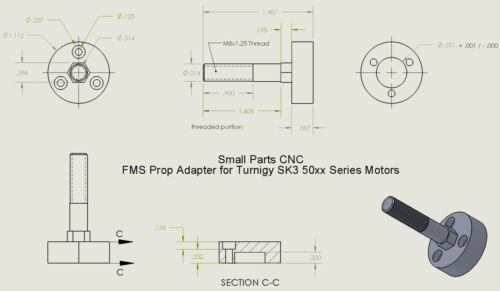 Airfield Propeller Adapter for Turnigy SK3 50xx Series FMS