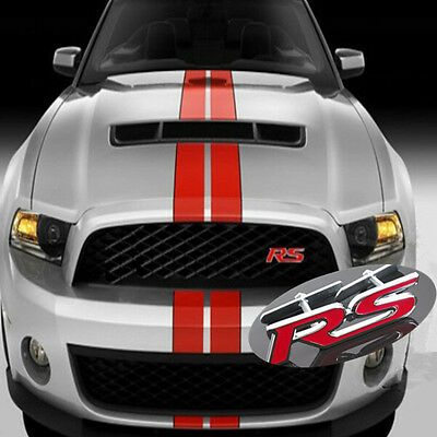Car 3D RS Logo Red Metal Emblem Allo Front Grill Grille Badge For Audi Volkswag