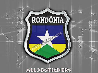 3D Emblem Sticker Resin Domed Flag Rondônia Adhesive Decal Vinyl