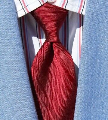 Polo Ralph Lauren Gentleman's Solid Red Herringbone Weave All Silk Necktie - USA