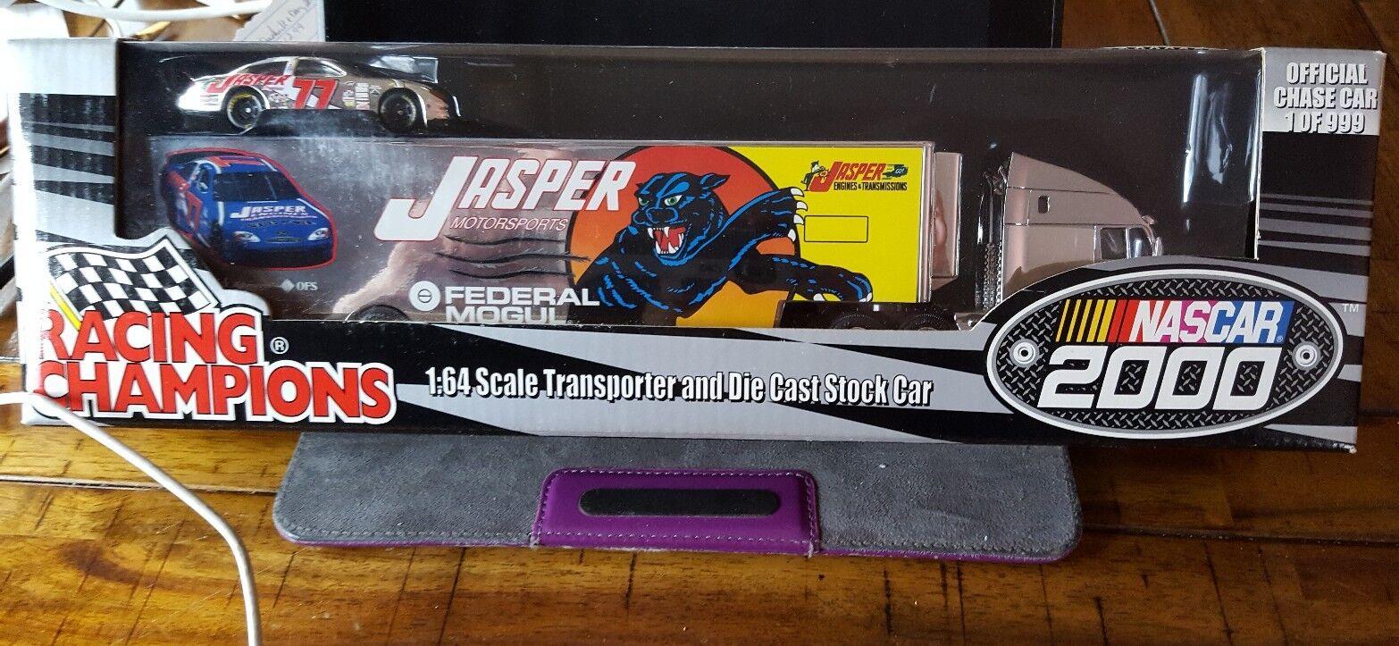 precios mas baratos Racing Champions Jasper escala  77 [1 64] 64] 64] Transportador Y Coche (NasCoche 2000) Nueva En Caja  elige tu favorito