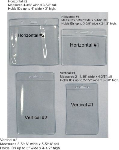 Clear Plastic Badge ID Holder 4 Sizes HORIZONTAL or VERTICAL ~ you Pick Lot Size