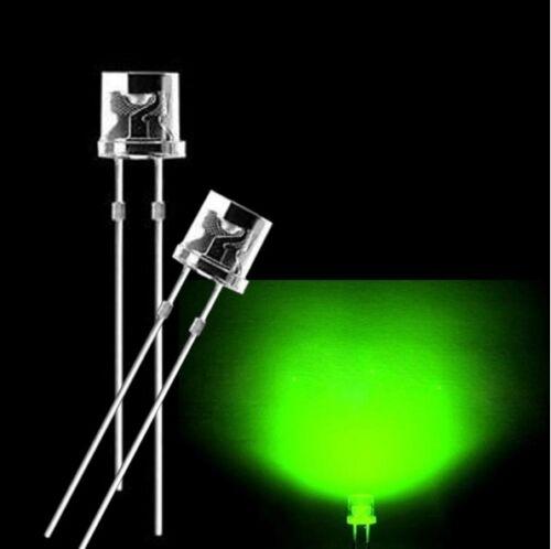 100PCS 5MM 2Pin Flat Top Verde LED Lámpara Luz de Cabeza Plana De Gran Angular Nuevo Ck