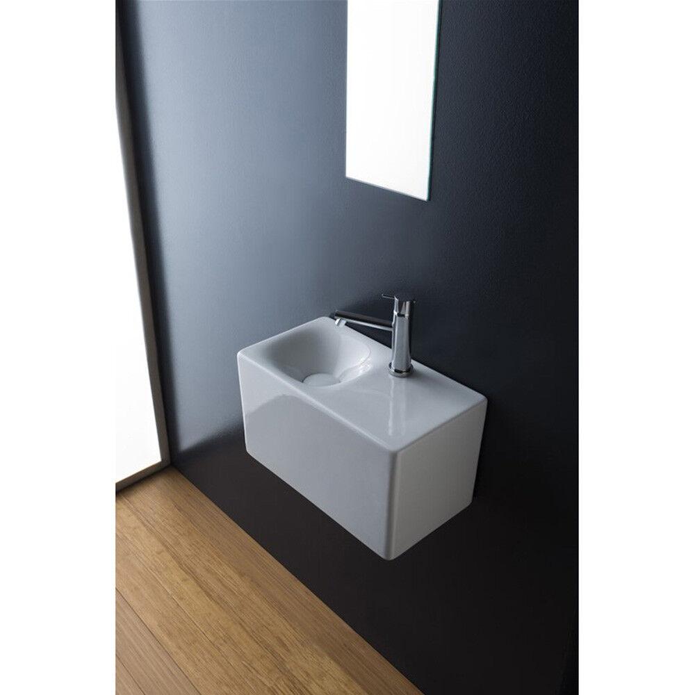 Lavandino Lavabo bagno appoggio sospeso Serie Cube in ceramica. Diversi modelli