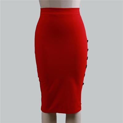 Women High Waist Plain Midi Pencil Bodycon Stretch Casual Work Office Skirt one