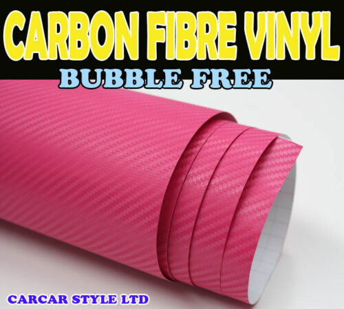 HOT Pink【500MM X 1520MM BUBBLE Free】 CARBON FIBRE Vehicle Wrap Vinyl Sticker