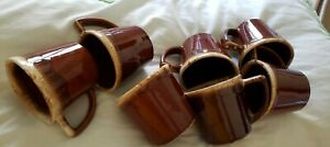 "Set of 7 Vintage McCoy USA Brown Drip Mirror Glaze Coffee Mugs/Cups ""D"" Handle"
