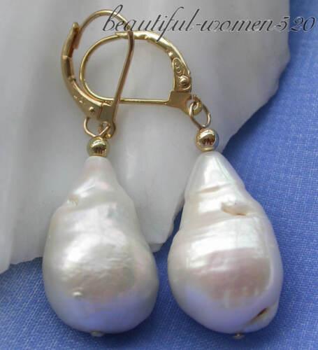 Z3493 22 mm blanc baroque Keshi reborn Pearl Dangle Boucle d/'oreille