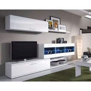 Set da soggiorno bianco con mobile porta tv mensole arredamento casa ...