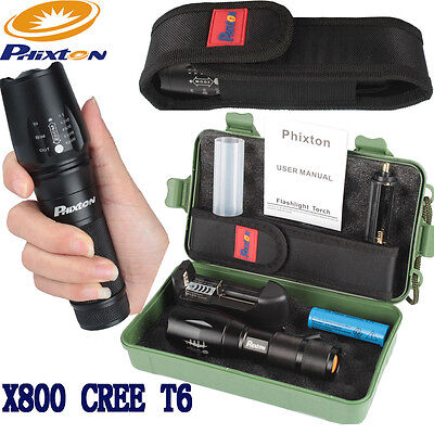 20000LM ZOOM XM-L T6 LED 18650//26650//AAA Police Flashlight+Charger+Battery