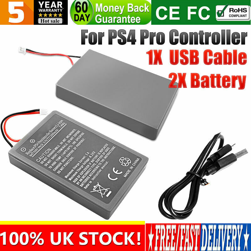 UK 2x 2000mAh Battery Kit for Playstation 4 PRO PS4 Pro Controller + USB Cable