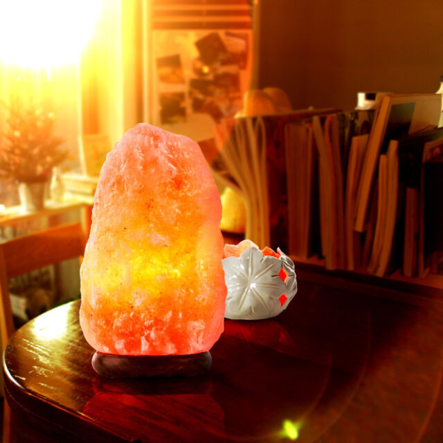 Natural Ionic Rock Crystal Salt Night Lamp Air Purifier Dimmer FOR Himalayan