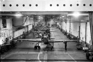 The-hangar-on-board-HMS-Argus-and-a-line-of-Hawker-WW2-War-Photo-034-4-x-6-034-inch-B