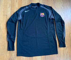 Barcelona-FC-Nike-Long-Sleeve-Men-s-Black-Training-Jersey-Size-XL-EUC-RARE