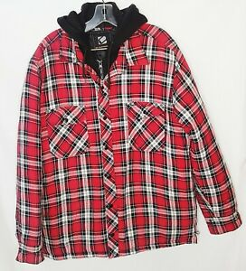 Lumberjack-Plaid-Shirt-Unisex-M-Red-Black-zipper-Snap-button-Hooded-quilted
