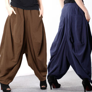 ZANZEA-Women-Casual-Full-Length-Plain-Pants-Culottes-Plus-Size-Harem-Trousers