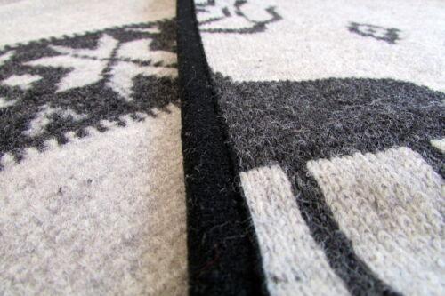 40x40 Wolldecke mit Kissen Wellenoptik Set 100/% Wolle  150x200