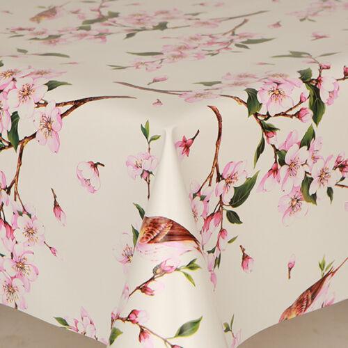 Traditionnel Rose Vert oiseaux Pvc Nettoyer Vinyle Table Housse en tissu floral Plain