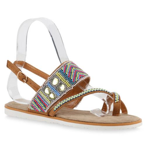 Damen Sandalen Ethno Style Zehentrenner Sommerschuhe Zierperlen 816958 Schuhe