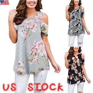 Women-Floral-Cold-Shoulder-T-Shirt-Casual-Loose-Tops-Summer-Blouse-Tee-Plus-Size