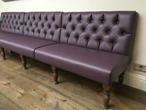 Details About Deep Buttoned Free Standing Seating On Turned Legs Banquet Bench Booth Home Bar