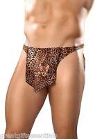 Male Power Tarzan Thong Loin Cloth Leopard Animal Print Jungle Men's Underwear