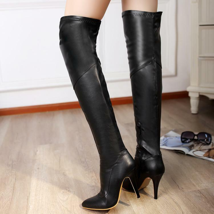 Women Leather High Heels Stilettos Pointy toe Over Knee Thigh Boots Knight Shoes