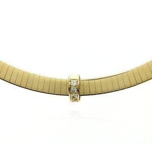 Flat 14k yellow gold omega necklace with diamond slide pendant fj image is loading flat 14k yellow gold omega necklace with diamond aloadofball Images
