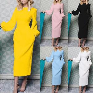 Damenmode-Langarm-Lang-Maxi-Kleid-Sommerkleid-Maxikleider-Party-Bodycon-Kleider