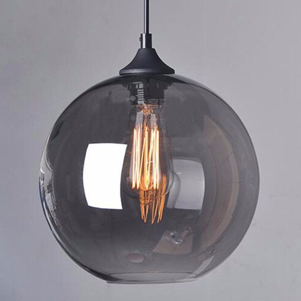 Retro Industrial Globe Smoke Grey Glass Ceiling Pendant