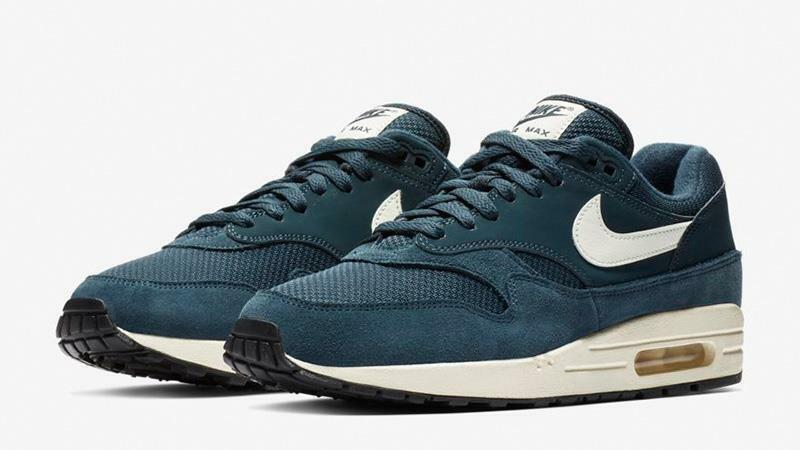NIKE AIR MAX 1 AH8145 401 ARMORY NAVY blueE SAIL WHITE BLACK - SUEDE LEATHER MESH