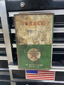 Vintage The Texas Company, Texaco Thuban 140 Tin, Green T, Red Star, Empty