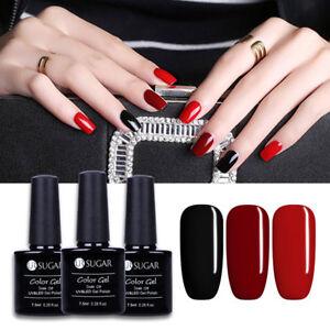 Image Is Loading 3x Red Black Gel Nail Polish Kit Uv