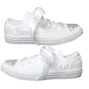 3c253ee7c93564 Image is loading Wedding-CONVERSE-Blinged-Out-and-Personalized -Bridal-Sneaker-