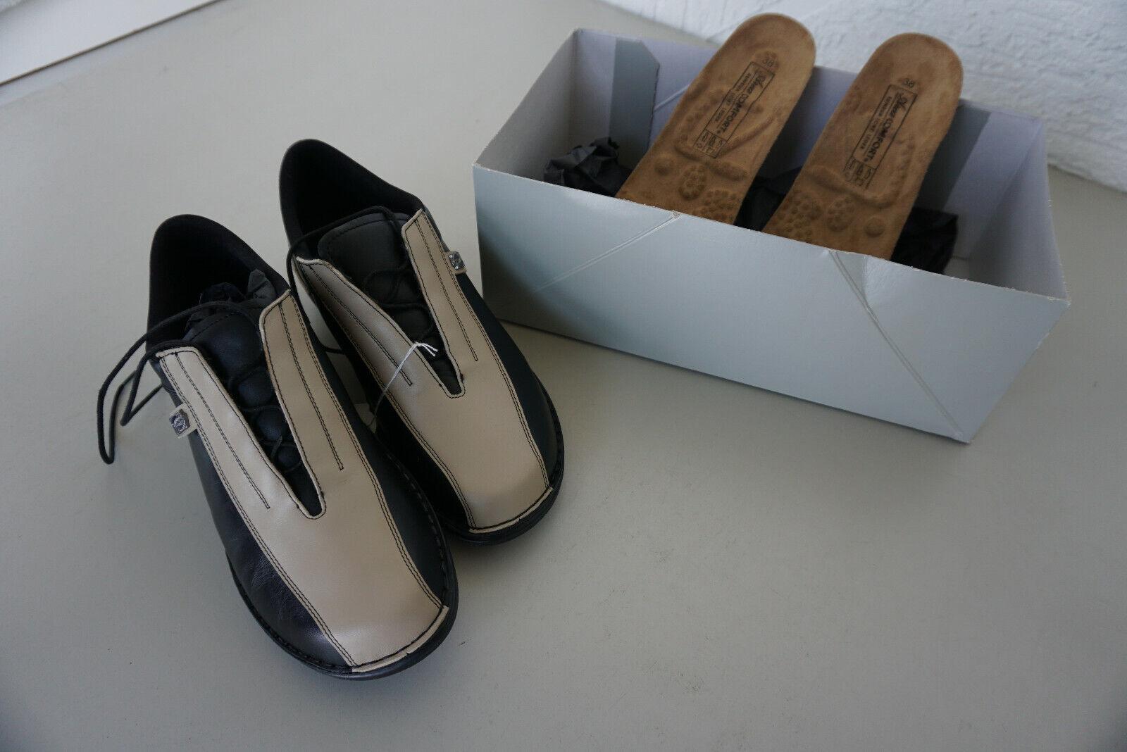 Légère orthopédiques Globo Concept chaussures femmes Taille 38 noir beige en cuir NEUF