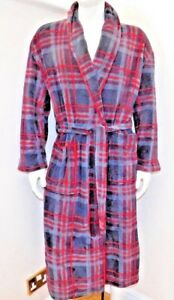 majestic international mens plush fleece robe black red plaid 2 sizes ... 48713f150