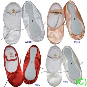 Satin-Ballet-Dance-Shoes-Pink-White-Ivory-Red-Bridesmaid-Children-039-s-Adults-CC