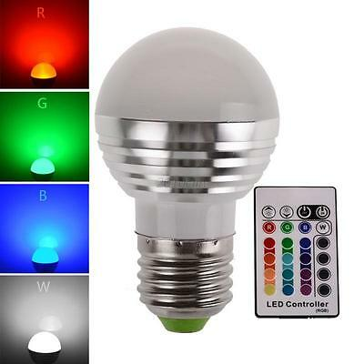 E27 3W Dimmable RGB LED light Color Changing Bulb with Remote Control 85-265V